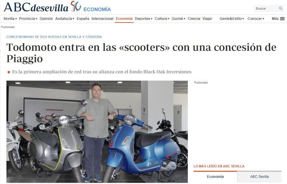 Los medios de comunicación de Sevilla se hacen eco de la llegada de las scooters a Grupo Todomoto Automoción