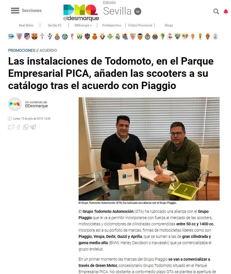 Grupo Todomoto Automoción en el medio digital deportivo El Desmarque