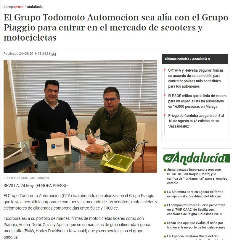 Grupo todomoto Automoción en Europa Press.