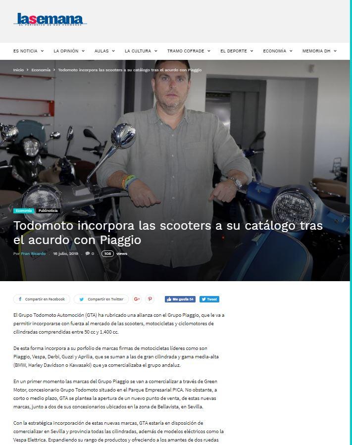 Grupo Todomoto Automoción en el periódico La Semana de Dos Hermanas